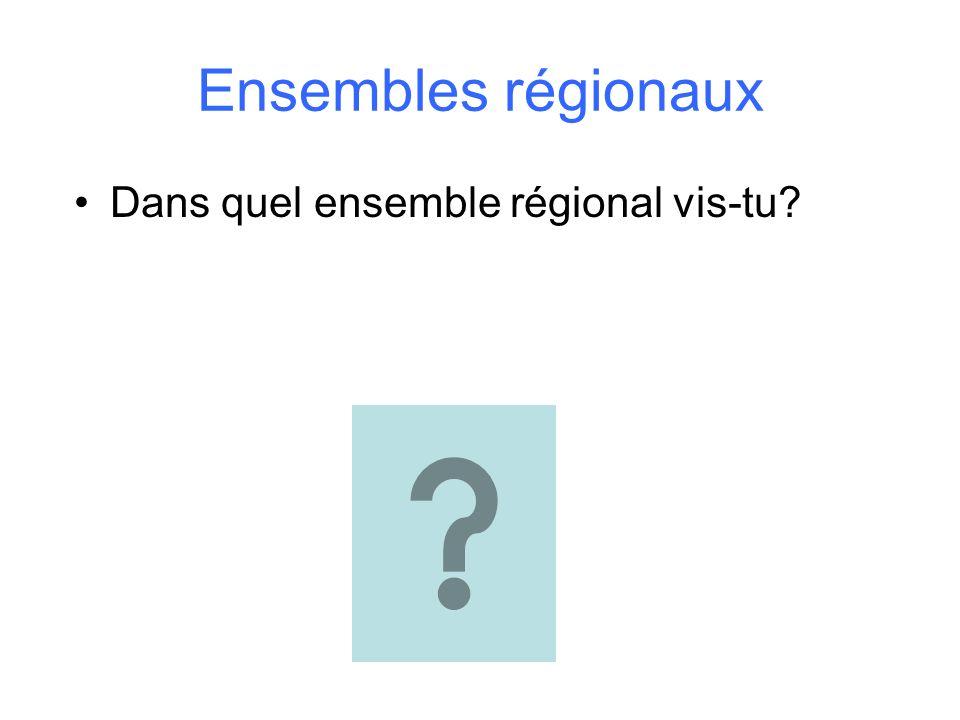 Ensembles régionaux Dans quel ensemble régional vis-tu?