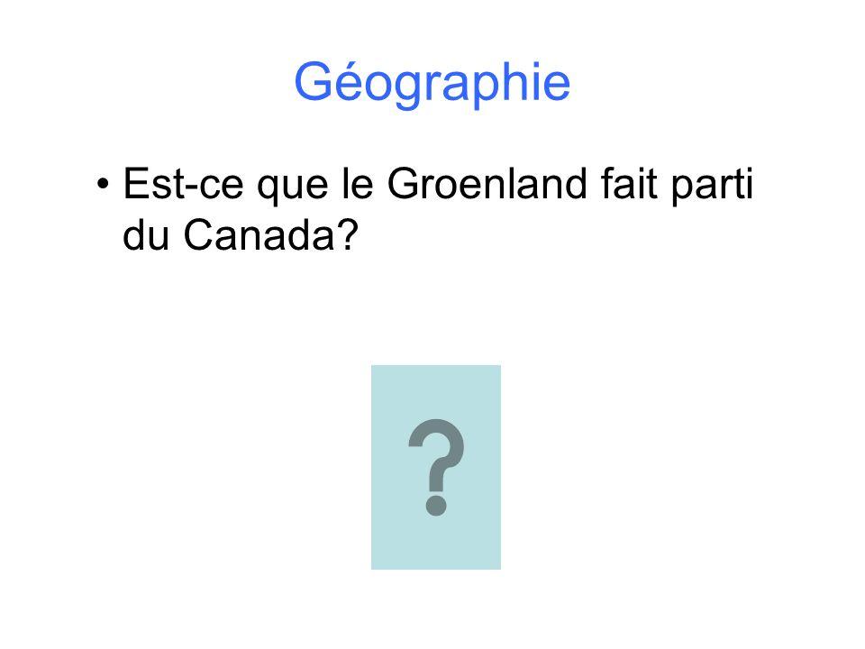 Géographie Est-ce que le Groenland fait parti du Canada?