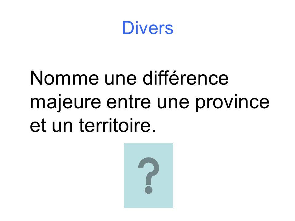 Divers Nomme une différence majeure entre une province et un territoire.