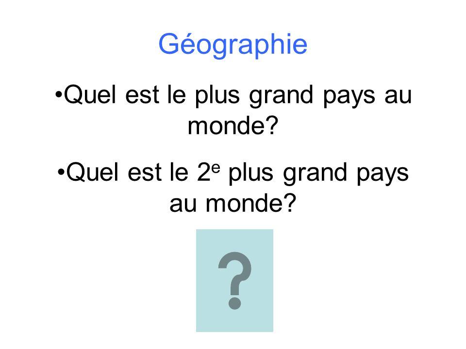 Géographie Quel est le plus grand pays au monde? Quel est le 2 e plus grand pays au monde?