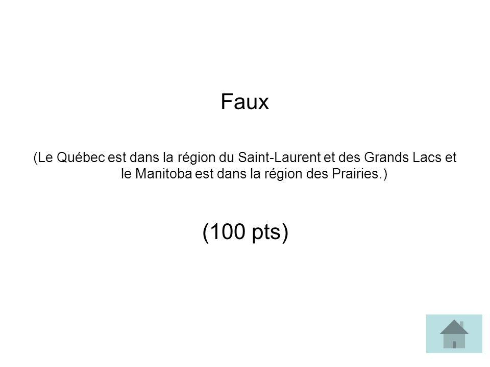 Faux (Le Québec est dans la région du Saint-Laurent et des Grands Lacs et le Manitoba est dans la région des Prairies.) (100 pts)