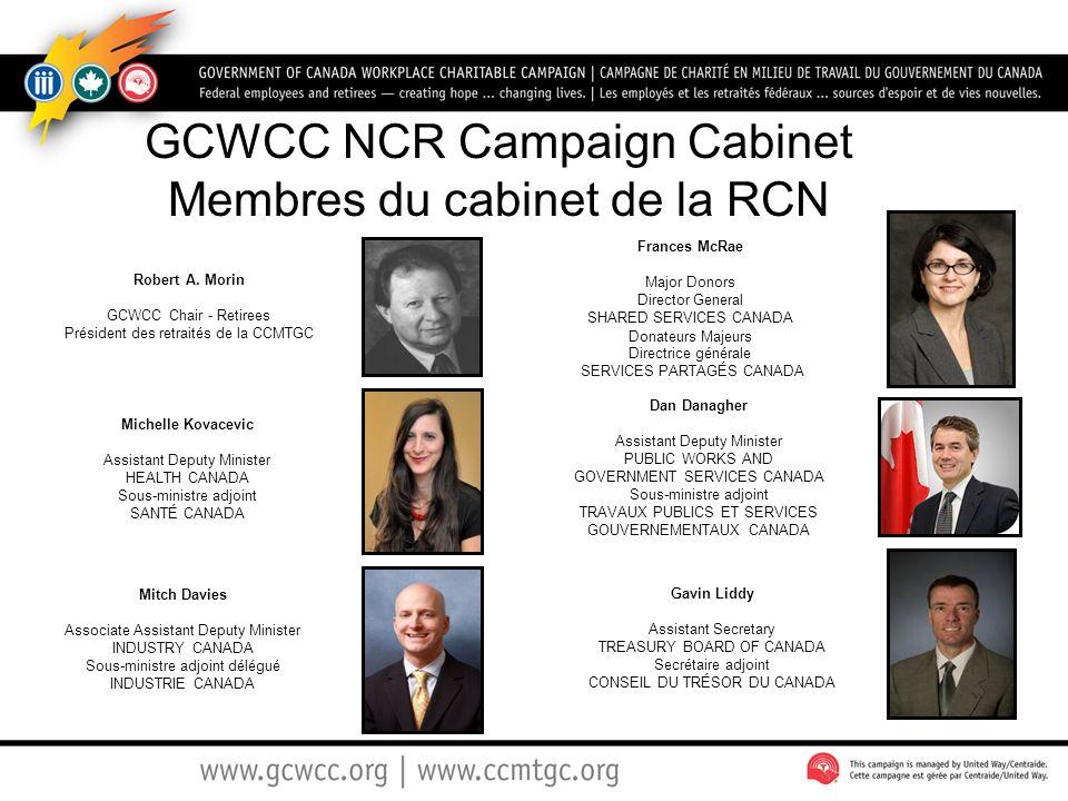 GCWCC NCR Campaign Cabinet Membres du cabinet de la RCN Robert A. Morin GCWCC Chair - Retirees Président des retraités de la CCMTGC Frances McRae Majo