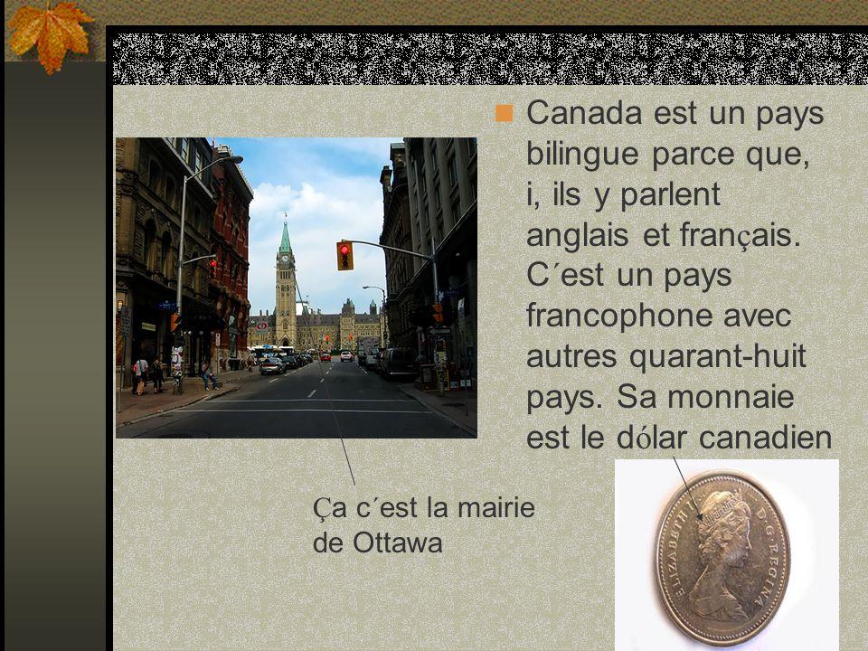Ç a c´est la mairie de Ottawa Canada est un pays bilingue parce que, i, ils y parlent anglais et fran ç ais.