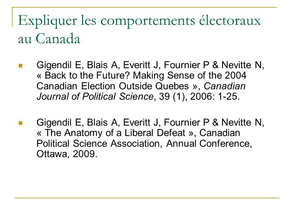 Expliquer les comportements électoraux au Canada Gigendil E, Blais A, Everitt J, Fournier P & Nevitte N, « Back to the Future? Making Sense of the 200