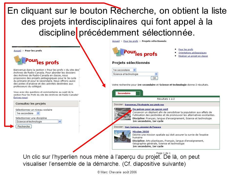 © Marc Chevarie août 2006 En cliquant sur le bouton Recherche, on obtient la liste des projets interdisciplinaires qui font appel à la discipline précédemment sélectionnée.