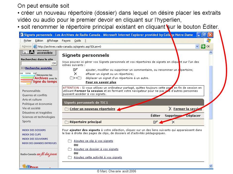 © Marc Chevarie août 2006 Les élèves sont maintenant prêts à travailler à condition de leur indiquer : le chemin pour se rendre à vos signets personnels http://archives.radio-canada.ca/signets.asp?IDLan=0 le nom dusager le mot de passe