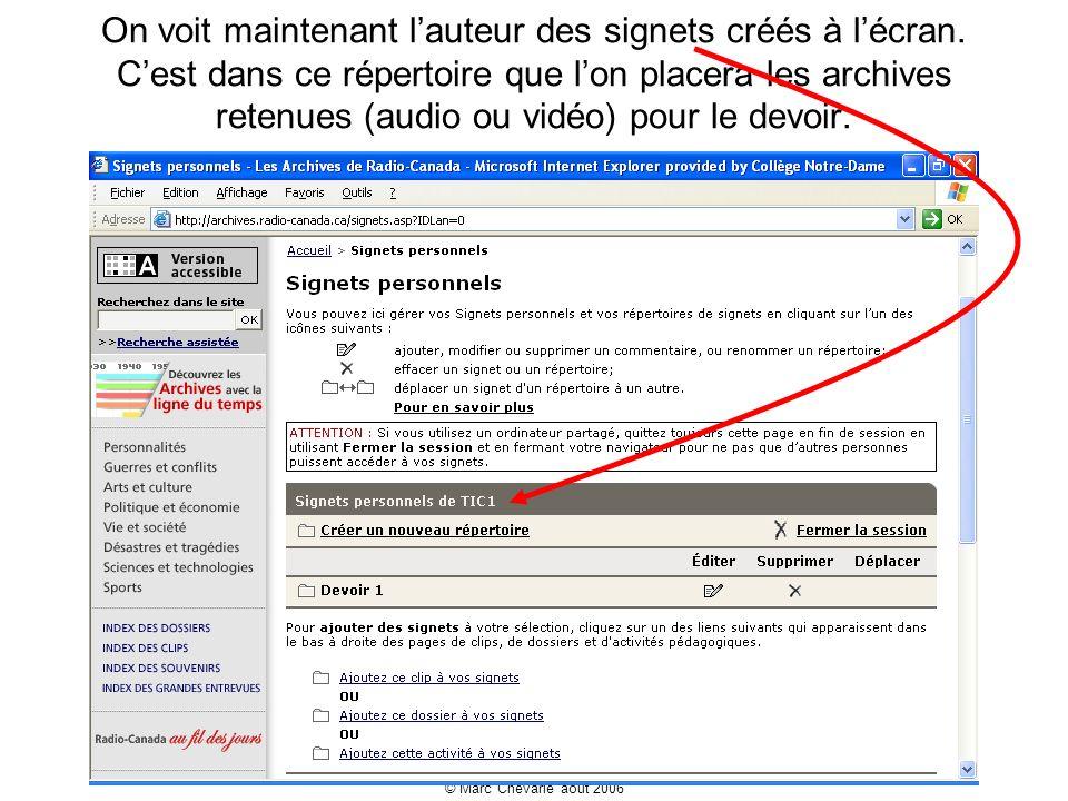 © Marc Chevarie août 2006 On voit maintenant lauteur des signets créés à lécran.