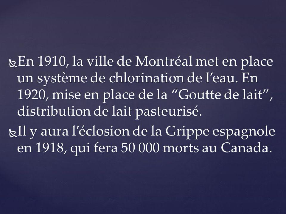En 1910, la ville de Montréal met en place un système de chlorination de leau. En 1920, mise en place de la Goutte de lait, distribution de lait paste
