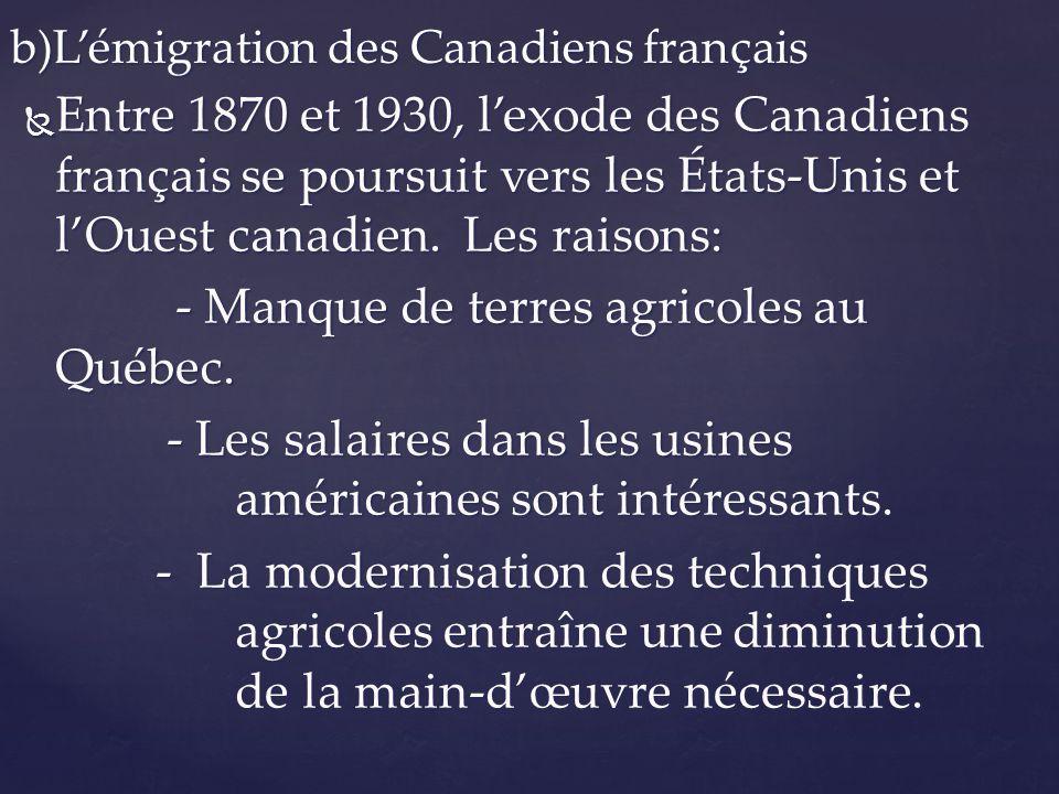 Entre 1870 et 1930, lexode des Canadiens français se poursuit vers les États-Unis et lOuest canadien. Les raisons: Entre 1870 et 1930, lexode des Cana