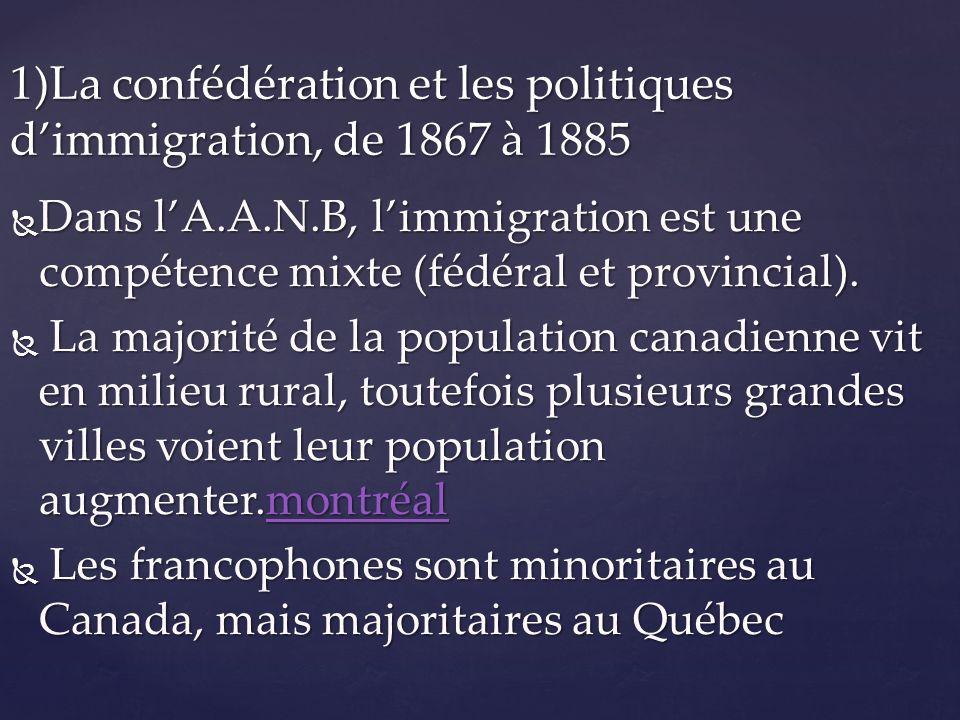 b)Reprise de limmigration après 1950 1952, le gouvernement fédéral détermine les critères dadmission au pays.