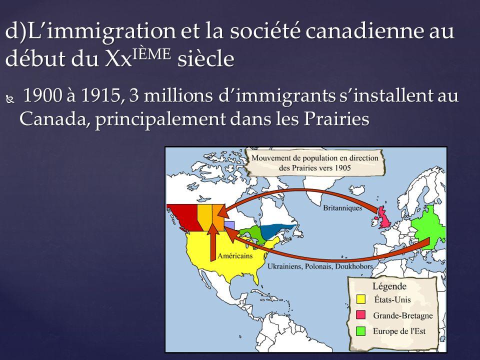 1900 à 1915, 3 millions dimmigrants sinstallent au Canada, principalement dans les Prairies 1900 à 1915, 3 millions dimmigrants sinstallent au Canada,