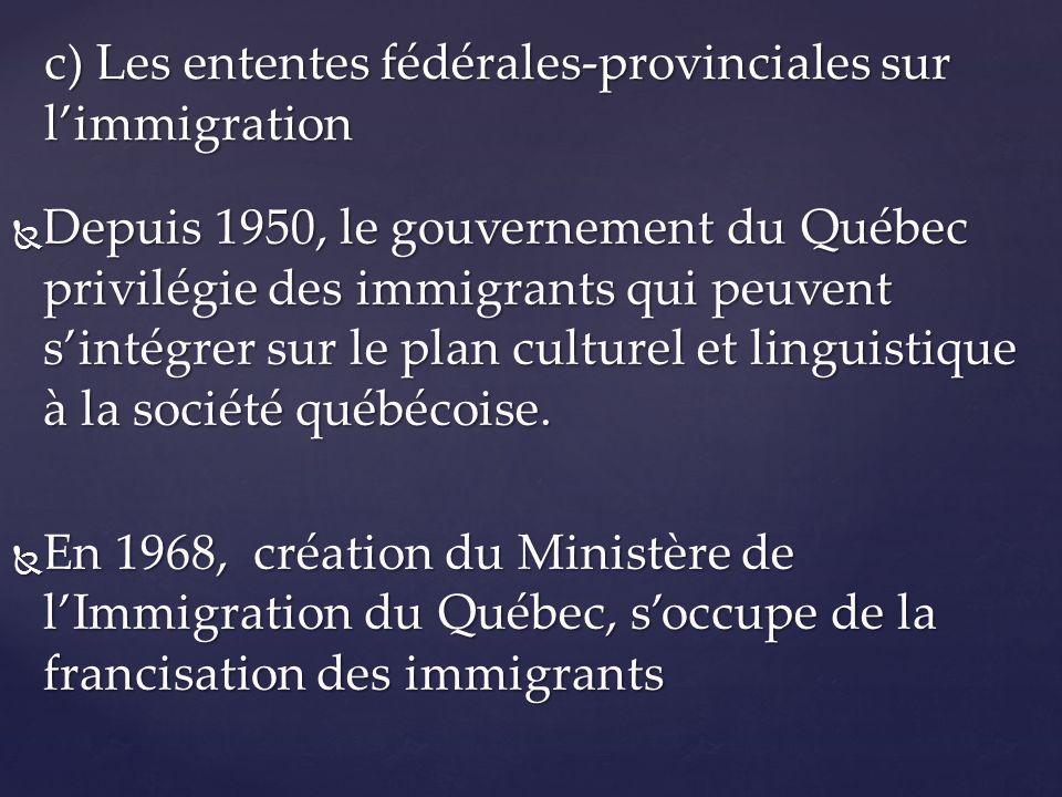 Depuis 1950, le gouvernement du Québec privilégie des immigrants qui peuvent sintégrer sur le plan culturel et linguistique à la société québécoise. D