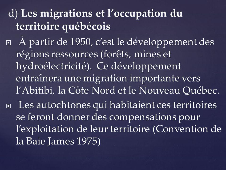 d) Les migrations et loccupation du territoire québécois d) Les migrations et loccupation du territoire québécois À partir de 1950, cest le développem