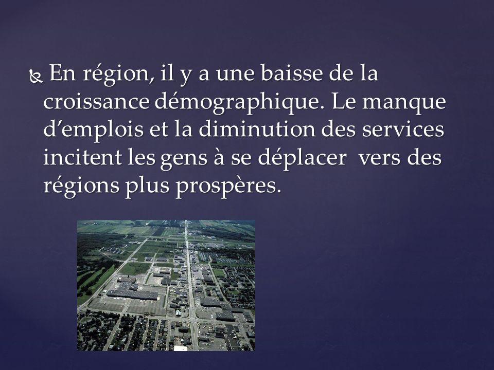 En région, il y a une baisse de la croissance démographique. Le manque demplois et la diminution des services incitent les gens à se déplacer vers des