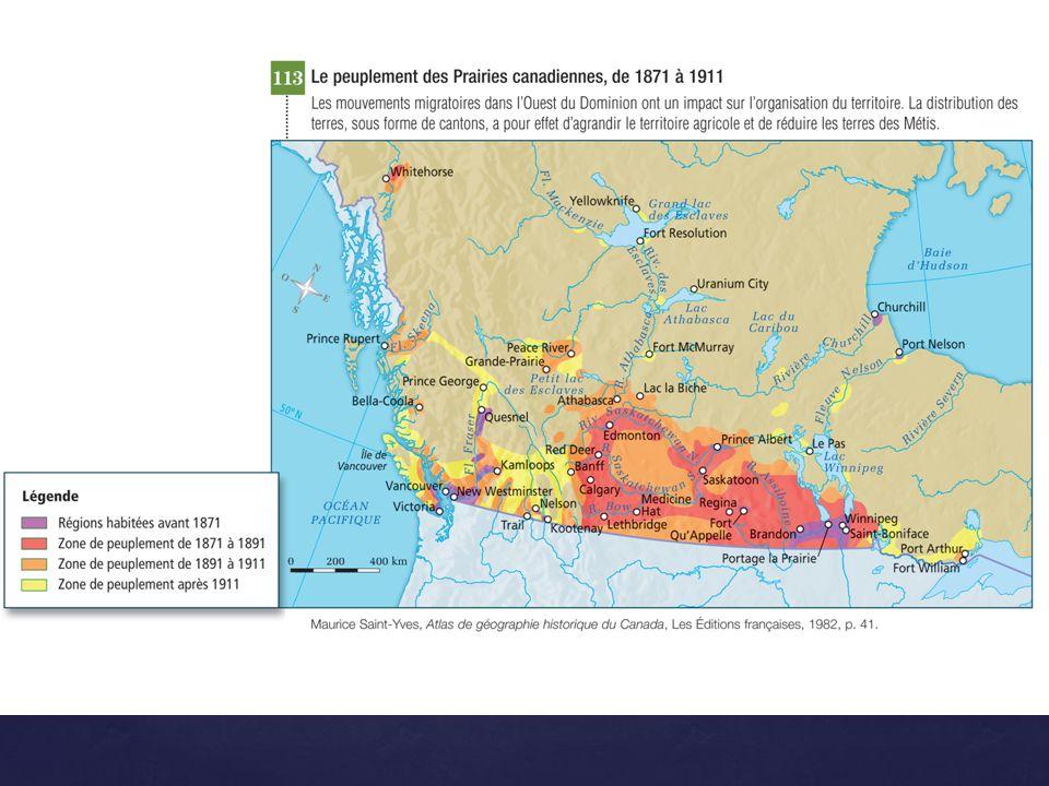 d) Les migrations et loccupation du territoire québécois d) Les migrations et loccupation du territoire québécois À partir de 1950, cest le développement des régions ressources (forêts, mines et hydroélectricité).