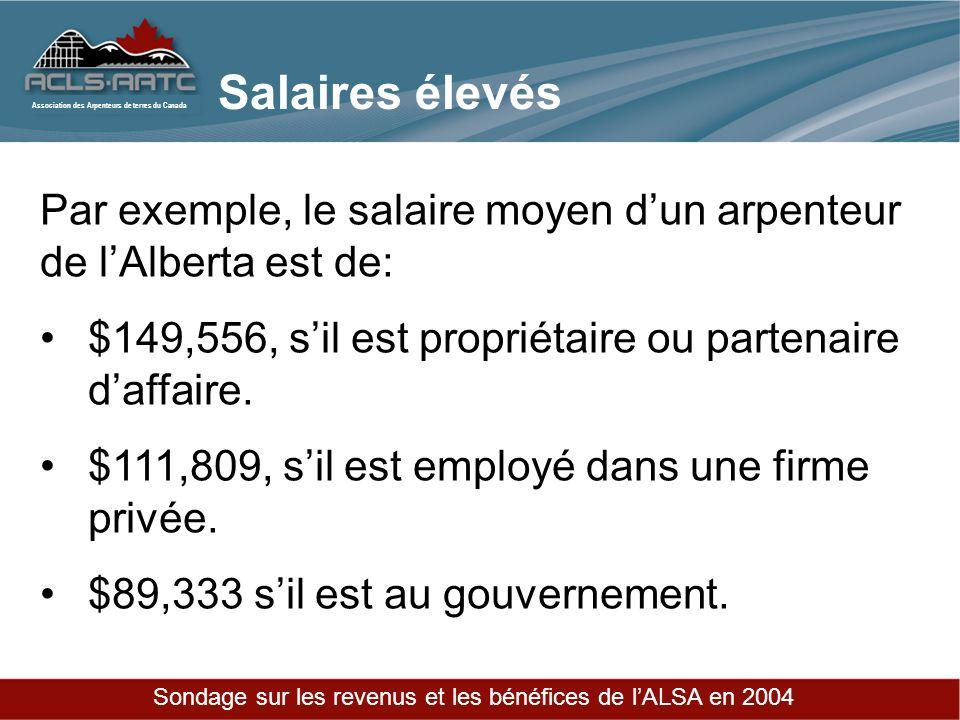 Association des Arpenteurs de terres du Canada Par exemple, le salaire moyen dun arpenteur de lAlberta est de: $149,556, sil est propriétaire ou partenaire daffaire.