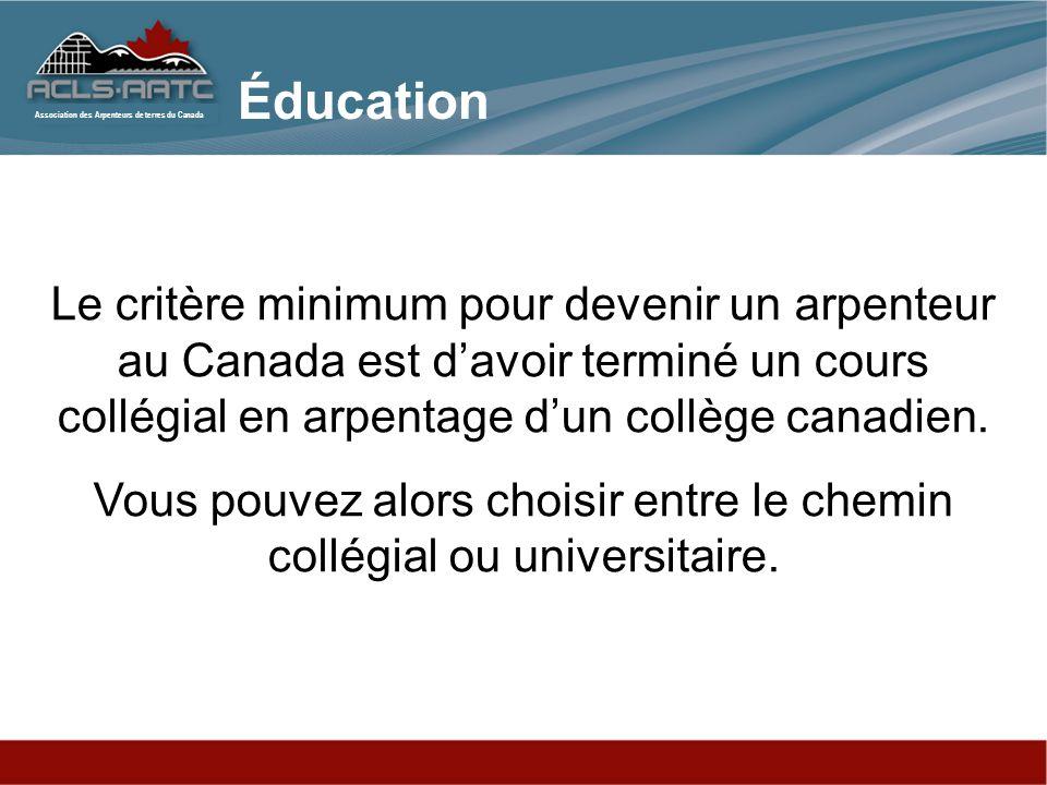 Association des Arpenteurs de terres du Canada Des études collégiales enseigne aux étudiants à fonctionner au sein dune équipe terrain et transmet des connaissances informatiques et de dessin asisté par ordinateur (CAD) qui se font au bureau.