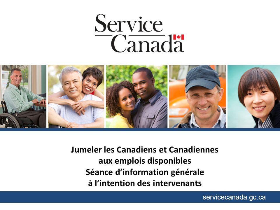 servicecanada.gc.ca Jumeler les Canadiens et Canadiennes aux emplois disponibles Séance dinformation générale à lintention des intervenants