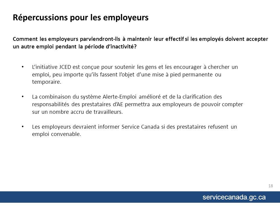 servicecanada.gc.ca Comment les employeurs parviendront-ils à maintenir leur effectif si les employés doivent accepter un autre emploi pendant la période dinactivité.