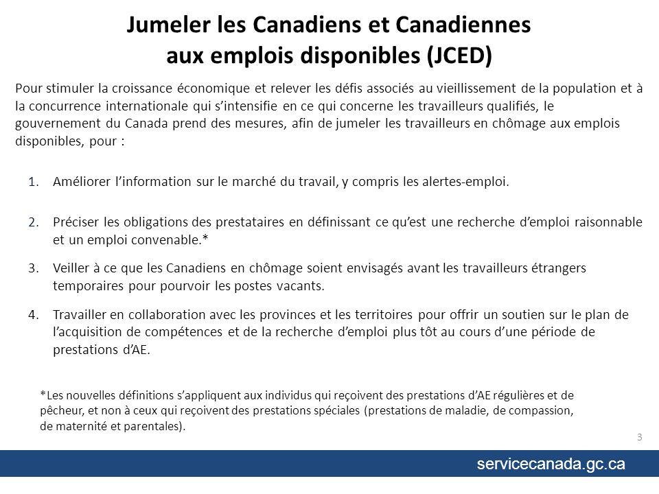 servicecanada.gc.ca Jumeler les Canadiens et Canadiennes aux emplois disponibles (JCED) Pour stimuler la croissance économique et relever les défis associés au vieillissement de la population et à la concurrence internationale qui sintensifie en ce qui concerne les travailleurs qualifiés, le gouvernement du Canada prend des mesures, afin de jumeler les travailleurs en chômage aux emplois disponibles, pour : 1.Améliorer linformation sur le marché du travail, y compris les alertes-emploi.