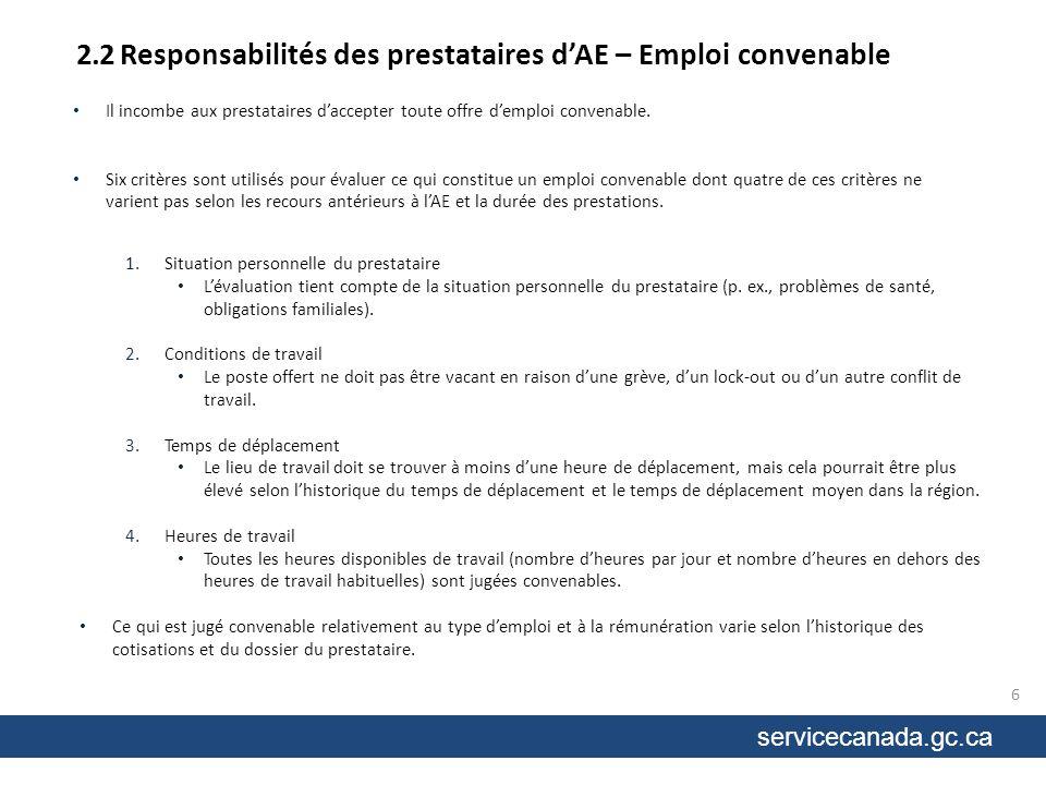 servicecanada.gc.ca 2.2 Responsabilités des prestataires dAE – Emploi convenable Les prestataires seront classés par catégories en fonction de lhistorique de leurs cotisations et de leur dossier.