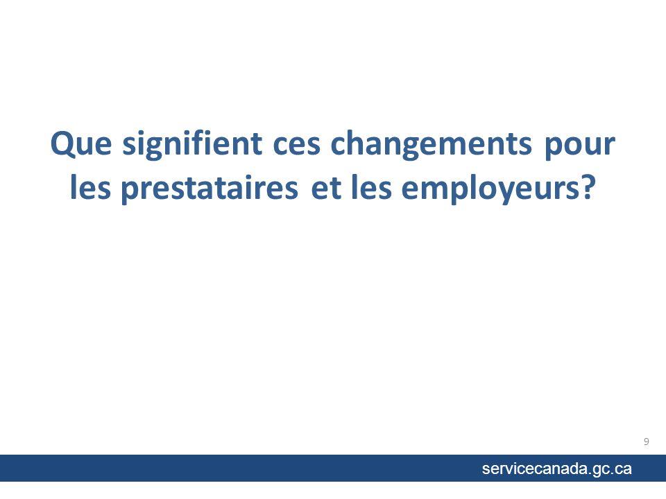 Que signifient ces changements pour les prestataires et les employeurs 9