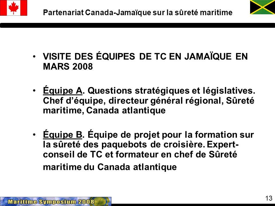 13 VISITE DES ÉQUIPES DE TC EN JAMAÏQUE EN MARS 2008 Équipe A.
