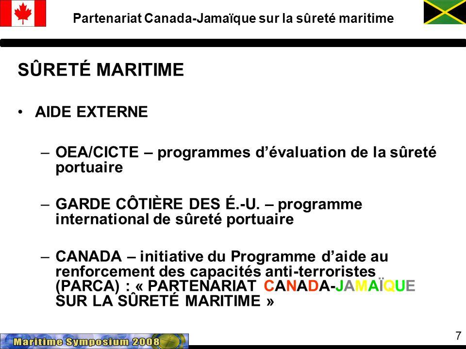 7 Partenariat Canada-Jamaïque sur la sûreté maritime SÛRETÉ MARITIME AIDE EXTERNE –OEA/CICTE – programmes dévaluation de la sûreté portuaire –GARDE CÔTIÈRE DES É.-U.