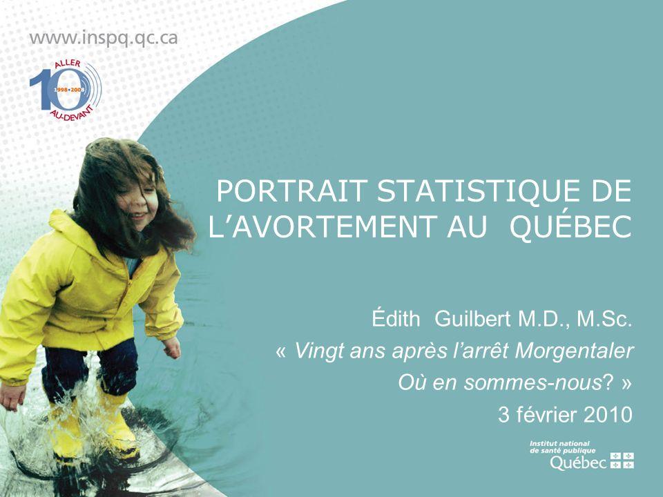 PORTRAIT STATISTIQUE DE LAVORTEMENT AU QUÉBEC Édith Guilbert M.D., M.Sc. « Vingt ans après larrêt Morgentaler Où en sommes-nous? » 3 février 2010