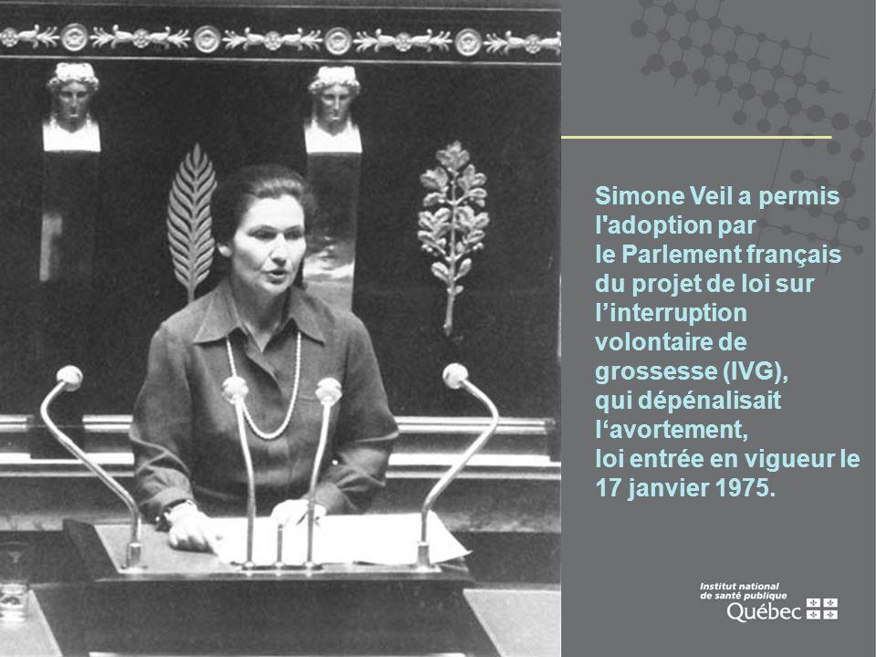 2 Simone Veil a permis l'adoption par le Parlement français du projet de loi sur linterruption volontaire de grossesse (IVG), qui dépénalisait lavorte