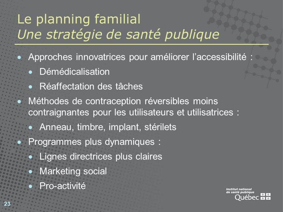 23 Le planning familial Une stratégie de santé publique Approches innovatrices pour améliorer laccessibilité : Démédicalisation Réaffectation des tâch