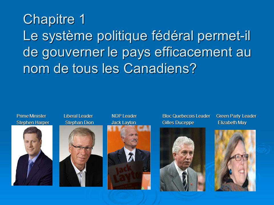 Chapitre 1 Le système politique fédéral permet-il de gouverner le pays efficacement au nom de tous les Canadiens.