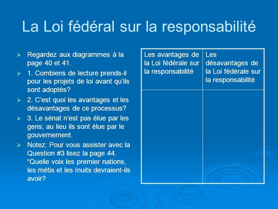 La Loi fédéral sur la responsabilité Regardez aux diagrammes à la page 40 et 41.