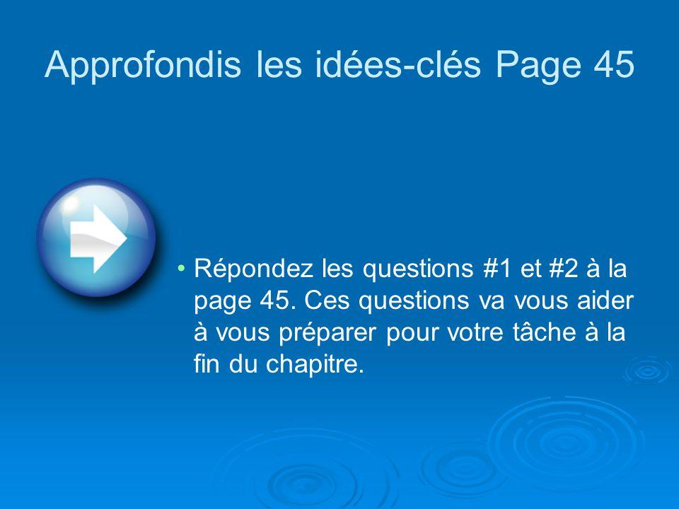 Approfondis les idées-clés Page 45 Répondez les questions #1 et #2 à la page 45.