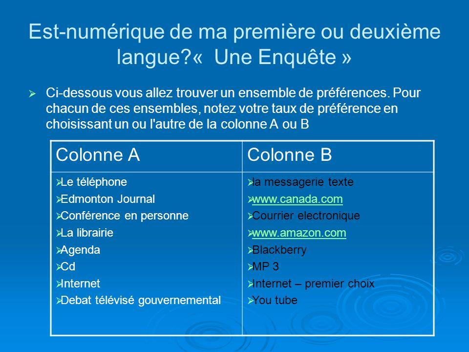 Est-numérique de ma première ou deuxième langue « Une Enquête » Ci-dessous vous allez trouver un ensemble de préférences.