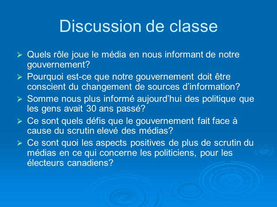 Discussion de classe Quels rôle joue le média en nous informant de notre gouvernement.