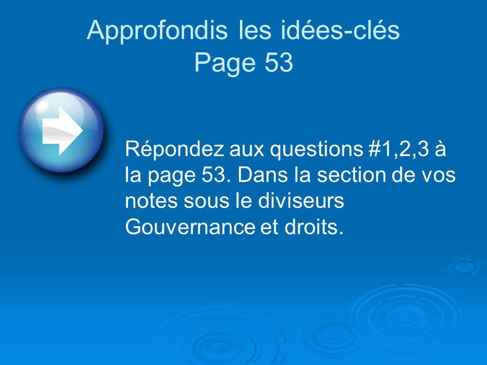 Approfondis les idées-clés Page 53 Répondez aux questions #1,2,3 à la page 53.