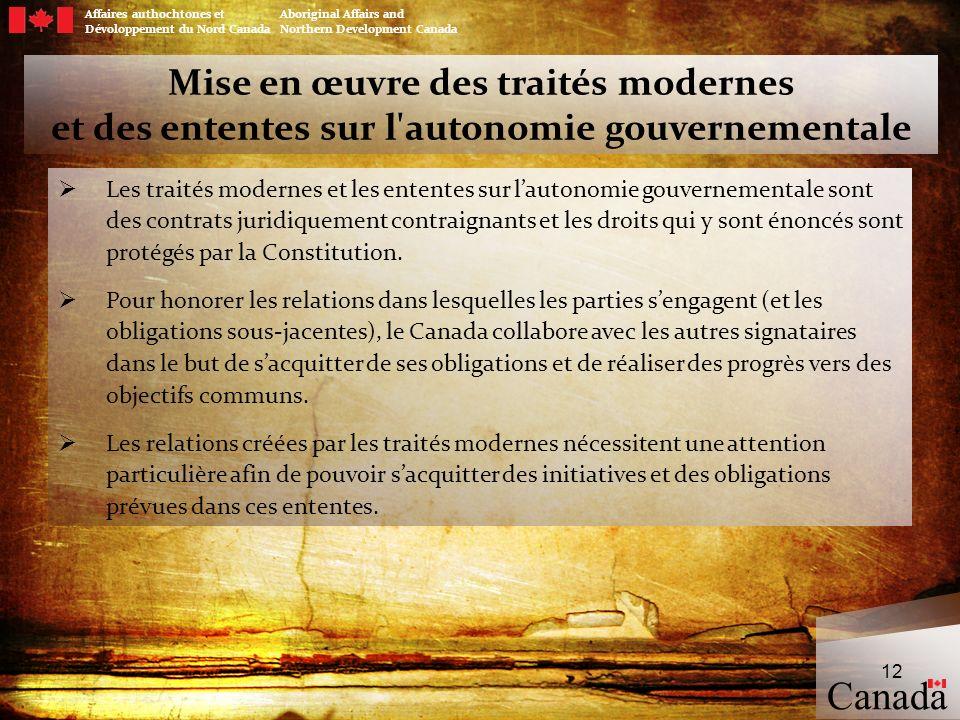 Affaires authochtones et Aboriginal Affairs and Dévoloppement du Nord Canada Northern Development Canada Mise en œuvre des traités modernes et des ent