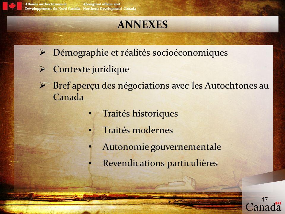 Affaires authochtones et Aboriginal Affairs and Dévoloppement du Nord Canada Northern Development Canada ANNEXES Démographie et réalités socioéconomiq