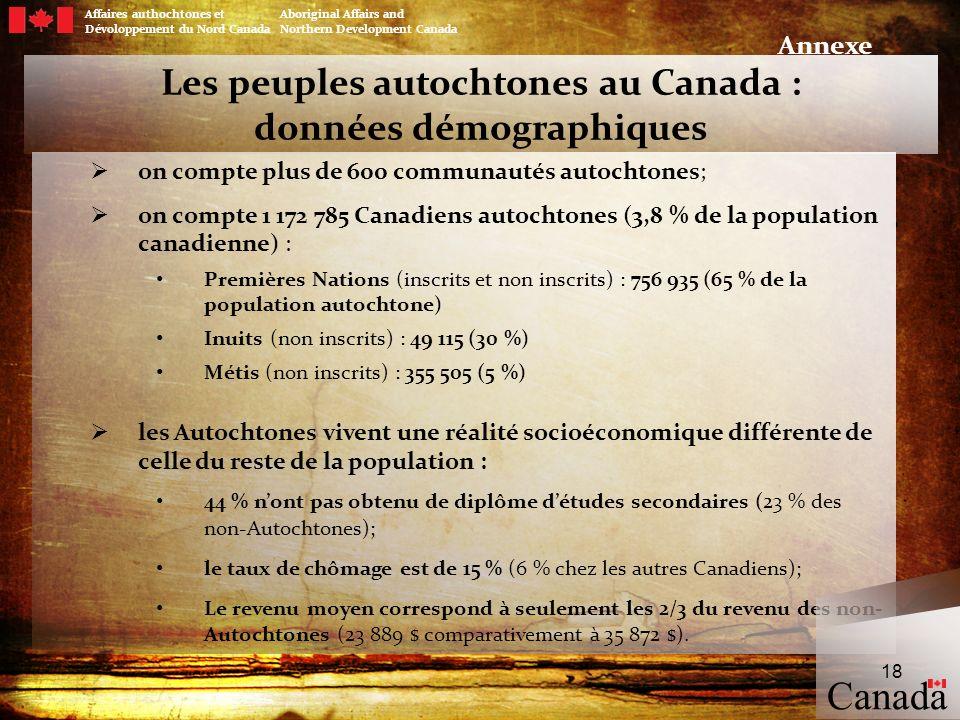 Les peuples autochtones au Canada : données démographiques on compte plus de 600 communautés autochtones; on compte 1 172 785 Canadiens autochtones (3