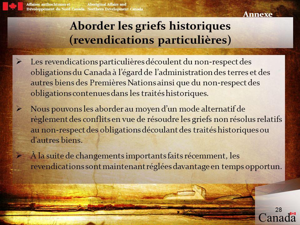 Aborder les griefs historiques (revendications particulières) Les revendications particulières découlent du non-respect des obligations du Canada à lé