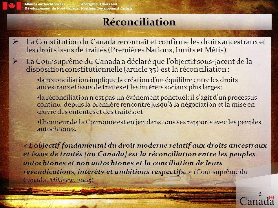 Traités modernes La négociation est un mécanisme par lequel un cadre est établi pour concilier les droits des Autochtones avec la souveraineté de la Couronne, permettant ainsi la signature daccords officiels entre le gouvernement du Canada, les provinces et les territoires, et la population autochtone.