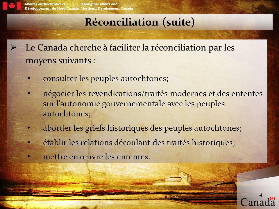 Les traités modernes au Canada Affaires authochtones et Aboriginal Affairs and Dévoloppement du Nord Canada Northern Development Canada 5 5 Canada