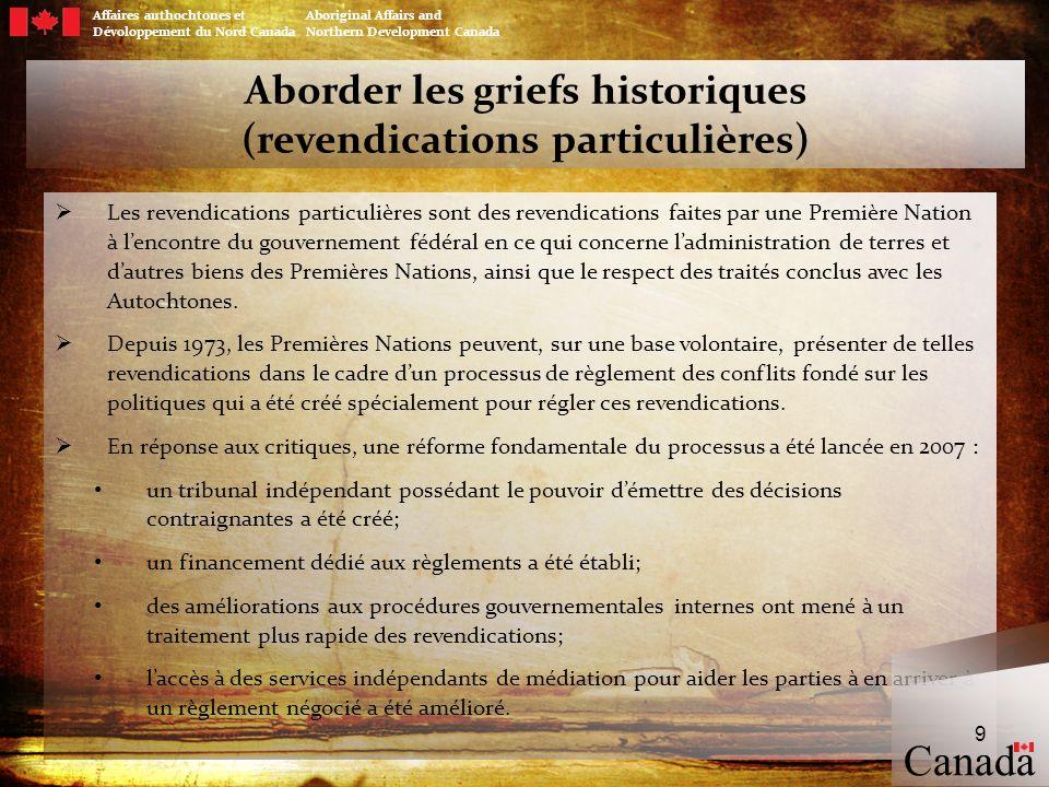 10 Aborder les griefs historiques (revendications particulières) Jusquà maintenant, les résultats des réformes du processus de règlement des revendications particulières sont notables.