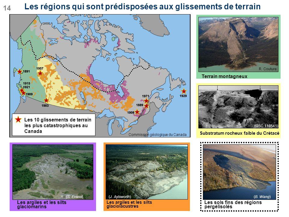 Les régions qui sont prédisposées aux glissements de terrain (B. Wang) Les sols fins des régions pergélisolés 14 Substratum rocheux faible du Crétacé