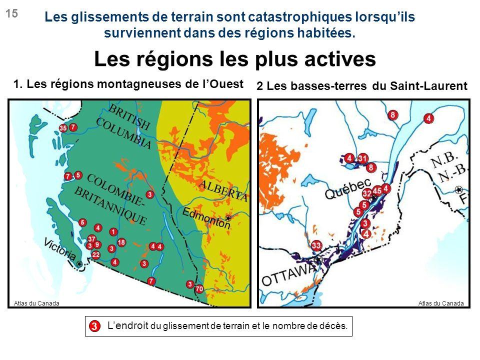 Lendroit du glissement de terrain et le nombre de décès. 1. Les régions montagneuses de lOuest Les régions les plus actives 2 Les basses-terres du Sai
