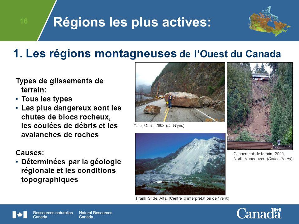 16 1. Les régions montagneuses de lOuest du Canada Yale, C.-B., 2002 (D. Wylie) Régions les plus actives: Types de glissements de terrain: Tous les ty
