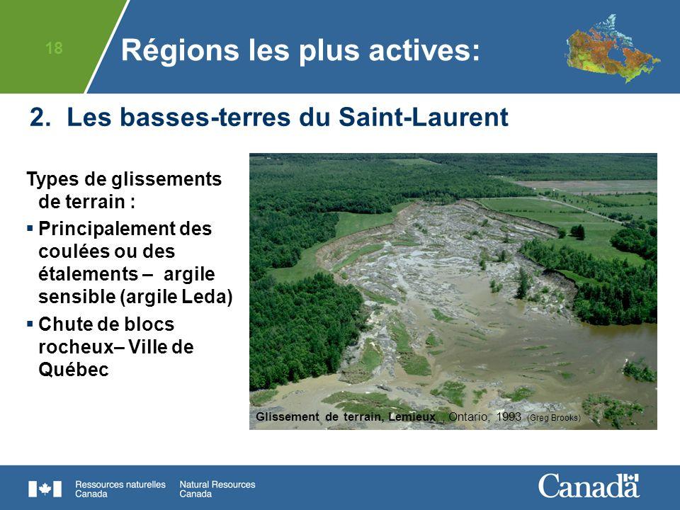 18 2. Les basses-terres du Saint-Laurent Types de glissements de terrain : Principalement des coulées ou des étalements – argile sensible (argile Leda
