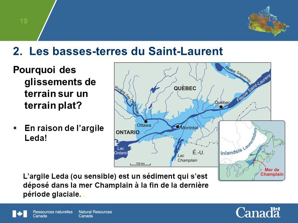 19 Largile Leda (ou sensible) est un sédiment qui sest déposé dans la mer Champlain à la fin de la dernière période glaciale.. Pourquoi des glissement