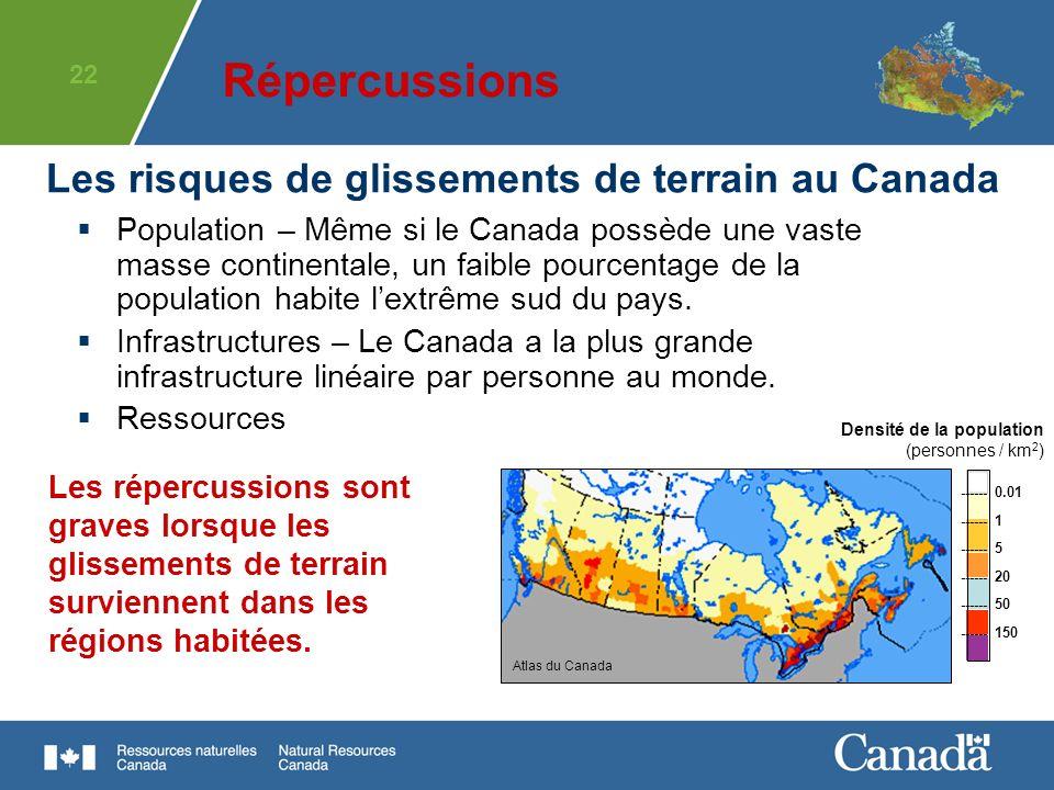 22 Population – Même si le Canada possède une vaste masse continentale, un faible pourcentage de la population habite lextrême sud du pays. Infrastruc